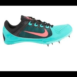 Teal coral Nike track spikes cleats running
